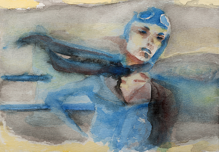 Watercolor of Woman Pilot in Blue